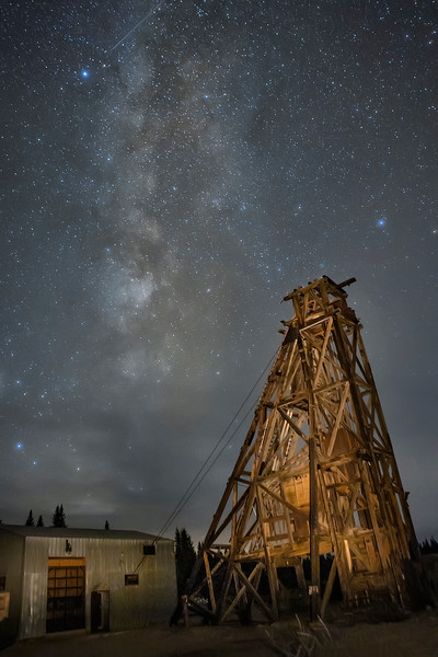 Leadville Colorado Abandoned Mining Rig With Milky Way in Background