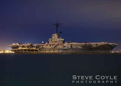 The USS Lexington at night in Corpus Christi Bay