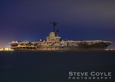 The USS Lexington at night in Corpus Christi Bay