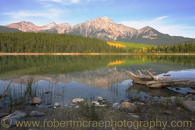 """Pyramid Mountain from Patricia Lake"" - Multiple Award Winner.  I love the view from this lake.  Hopefully, some day I will see all of the Quaking Aspen turn."