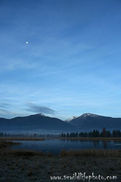 Moon over Lee Metcalf National Wildlife Refuge wetlands, Stevensville, Montana