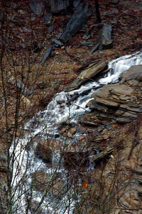 Buckner Branch Falls flowing into the Nantahala River at the point where the Nantahala flows into Fontana Lake