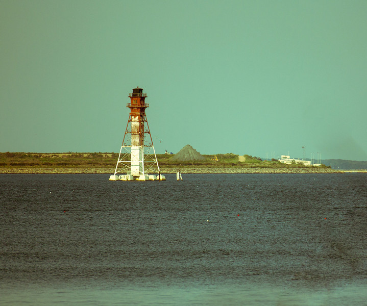View of a navigation light from one of the trails at North Point State Park.