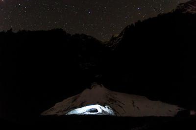 Ice cave lit by a LED light stick.