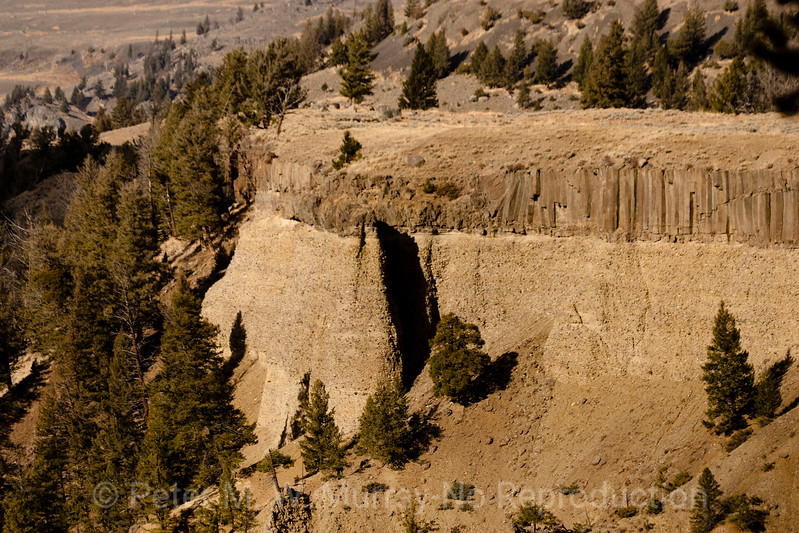 Columnar Basalt on top of volcanic debris in Canyon of the Yellowstone.