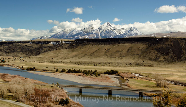 Emigrant Peak. Three peaks. Hepburn Butte and the Yellowstone River.