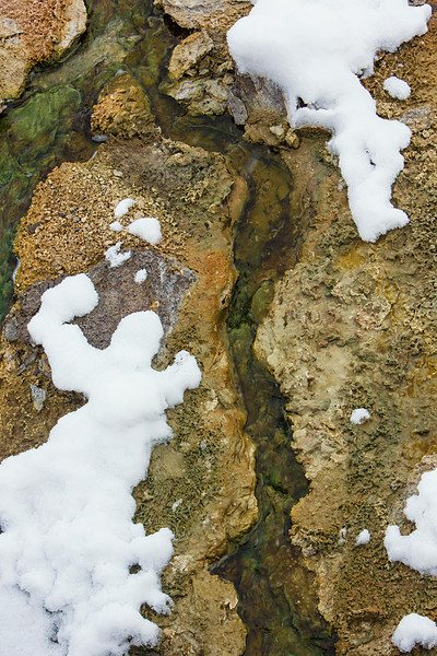 Mineral deposits and snow I, West Thumb Geyser Basin, Yellowstone NP