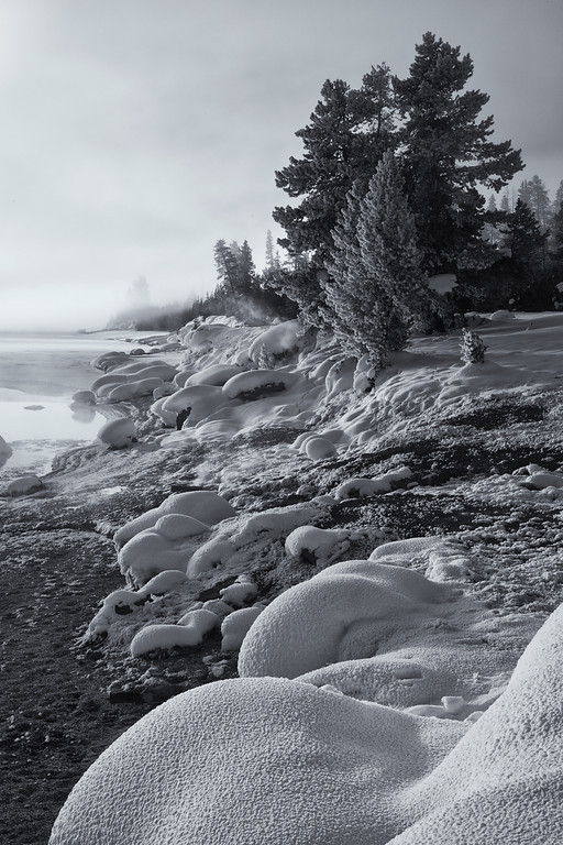 Filtered Light, West Thumb Geyser Basin, BW