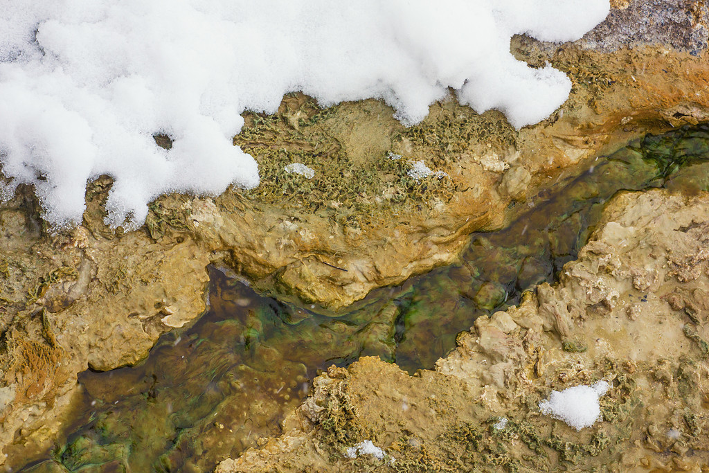 Mineral deposits and snow II, West Thumb Geyser Basin, Yellowstone NP