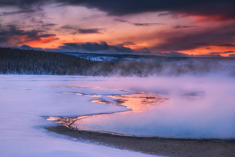 Sunset, Fountain Flats, Yellowstone NP