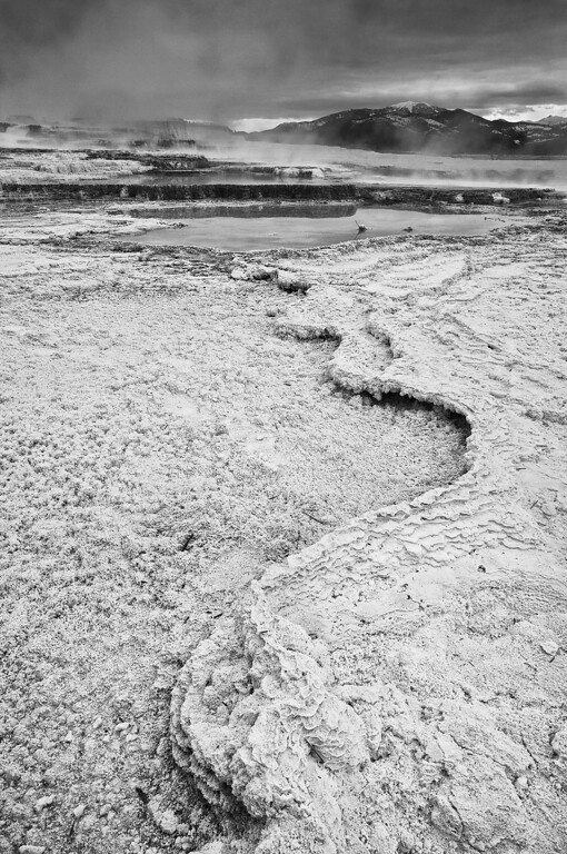 Caustic Earth (B&W)<br /> Mineral deposits at Mammoth Hot Springs