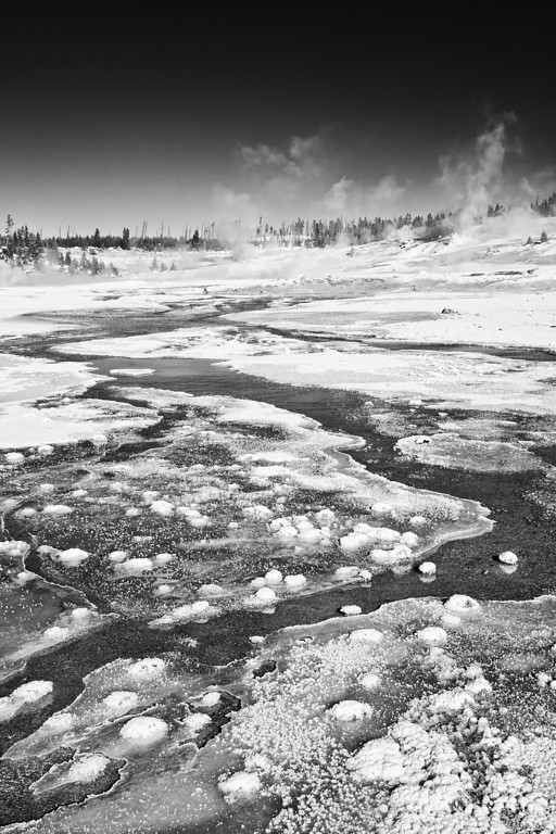 East Fork of Tantalas Creek, Porcelain Basin, Norris Geyser Basin, BW