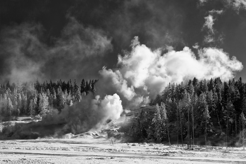 Steam from Ledge Geyser, Porcelain Basin, Norris, BW