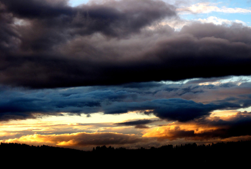 Triple Decker! as the sun sets to the west in Beaverton, the multi layers of clouds each take on their own light!