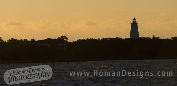 Ocracoke lighthouse at sunrise.
