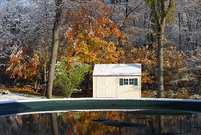 My shed - partially in Fall and Winter.