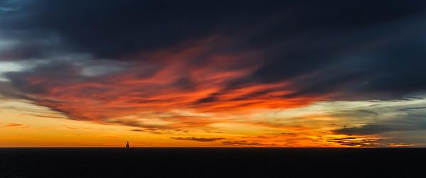 Sunrise at Kvitebjørn oilrig, Northsea