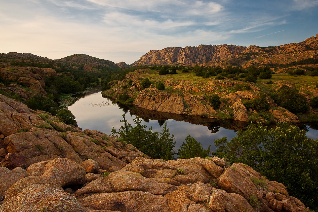 One of the two small lakes on the remote side of the Wichita Mountains Wildlife Management Area in Oklahoma. I saw a photo from this vantage point on a photography book I purchased a few weeks ago by photographer Michael Hardeman. I was inspired to give it a try. It's only a short 3 and a half hour drive from Dallas and my Thursday afternoon was slow.