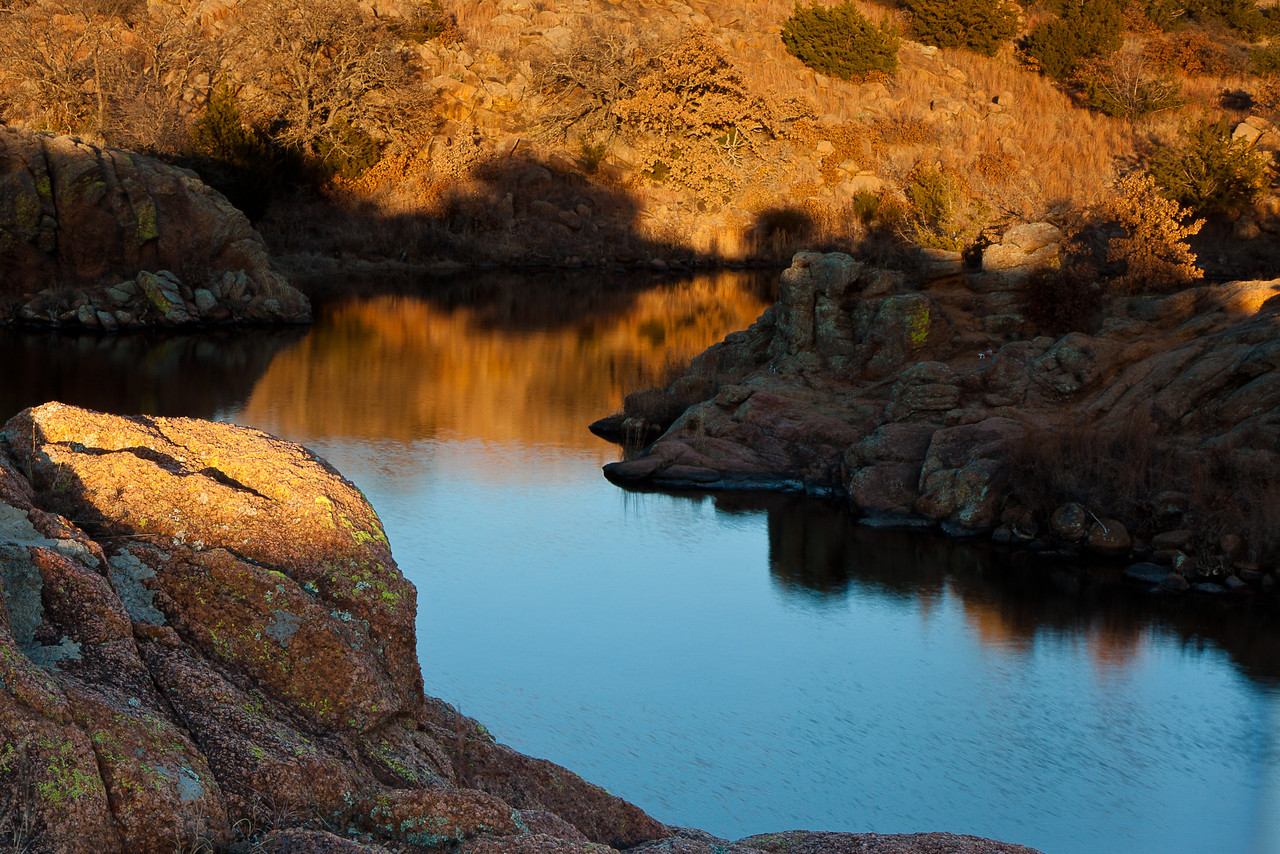 Osage Lake, one of the smallest lakes in the Wichita Mountains Wildlife Refuge.