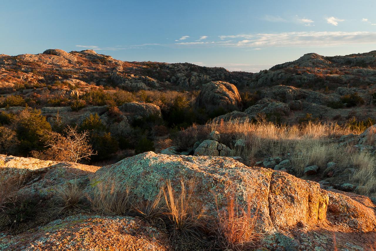 The hills above Panther Creek just below Osage Lake. Taken near sunset at Wichita Mountains Wildlife Refuge.