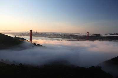On most clear days in my way to work, I have a view of half the San Francisco skyline, a portion of the Bay Bridge, and several nearby hills filled densely with houses and apartment buildings. Today, thanks to our typical ground-hugging summer fog, I can barely see a half block down the road.
