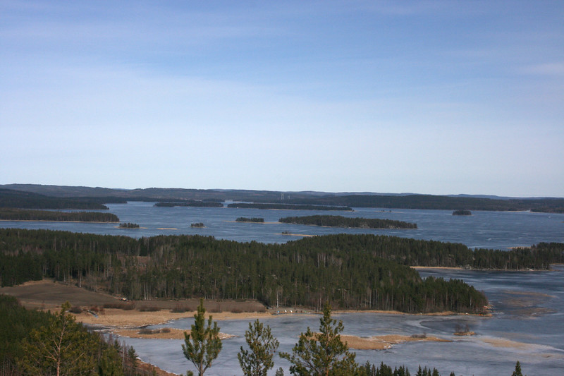Oravivuori, Korpilahti. In the middle of picture you can see the bridge of Kärkistensalmi. Click below keyword 'karkistensalmi' to see more pictures of that bridge.