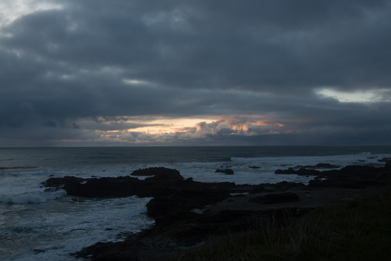 Sunset overYachats seashore