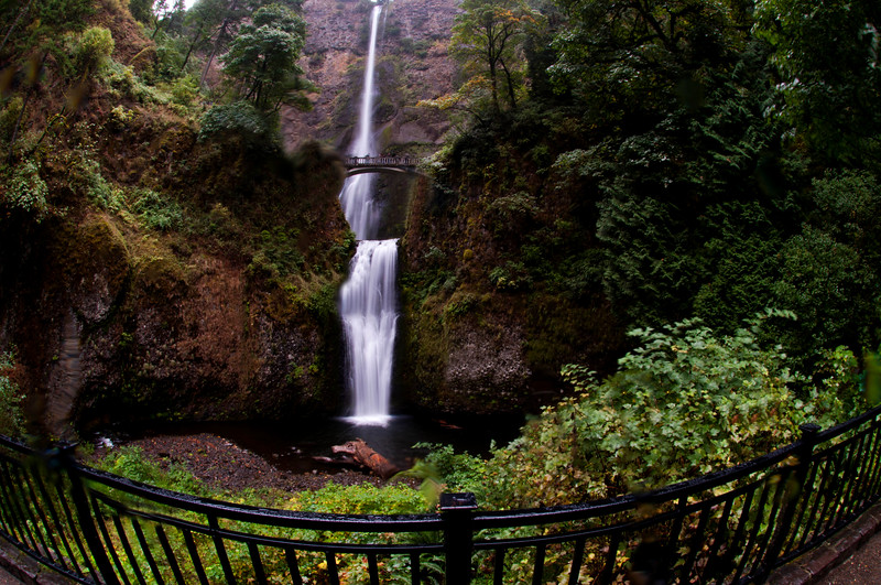 Multnomah Falls with fence
