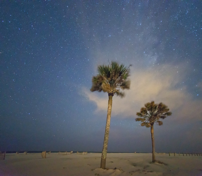 Folly Beach County Park at midnight