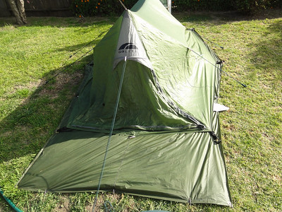 Now here is the tent from the front with the main door zipped up shut.