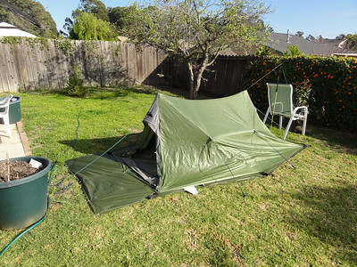 Now I have gone to work and set the tent completely up.