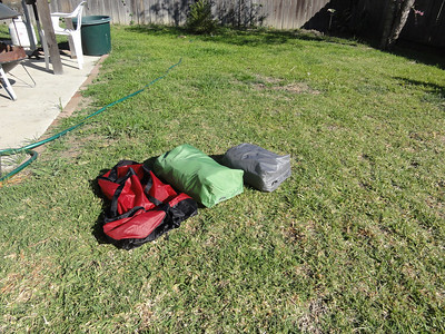 The inside of the stuff sack reveals two smaller bags. One is the rain fly, the other is the bug netting.