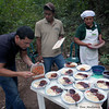 Alex, from Finca Esperanza, puts the finishing touches on the meal - General Nestor's Farm