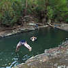 TSUNAMI WARNING!..........Dave, our tour leader, dives into the frigid water.- General Nestor's Farm