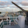 The stern of the ship overlooks Sunset Marina in Key West.