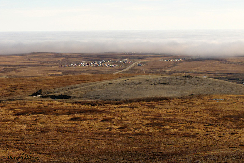 Looking back towards Nome, from the radar site. Notice the vast tundra and the gravel mound used by DOT.