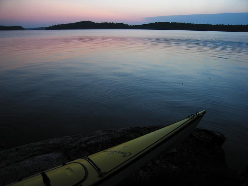 Saganaga Lake and a sea kayak