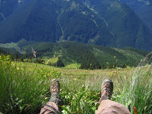 Taking a break in the Glacier Peak Wilderness on the Pacific Crest Trail.