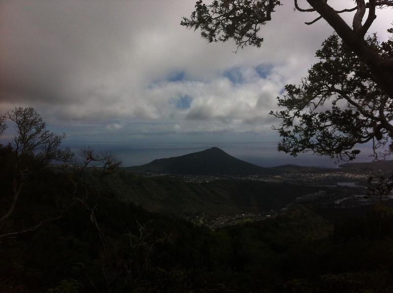 Thats Koko Head. I'm barely 1/2 way up Kuliouou, and already higher than Koko Crater.