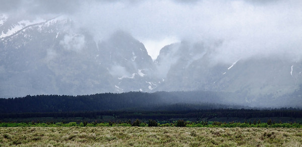 Tetons in spring storm