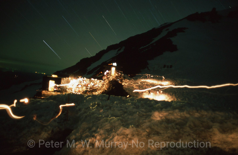 Midnight, Camp Muir star trails and headlamps