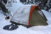 Tent in the snow.  (Inner tube was for night-time tubing.)