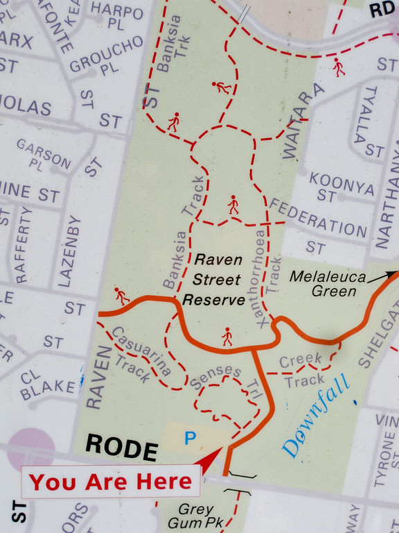 Map - Raven Street Reserve - Raven St Reserve & Milne Hill Reserve; West Chermside, Brisbane, Queensland, Australia; 03 October 2012. Photos by Des Thureson