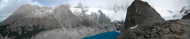 """FitzRoy Mountain Range with Laguna Sucio ang glacier Rio Blanco in the """"Los Glaciares"""" National Park in Patagonia, Argentina. December 20th 2006"""