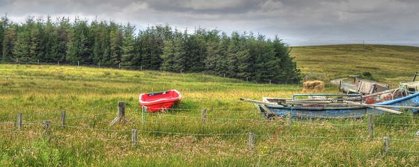 Boats in a field