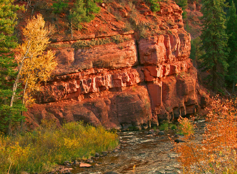 Fall colors and sunset light up the red rocks of Frying Pan River Colorado