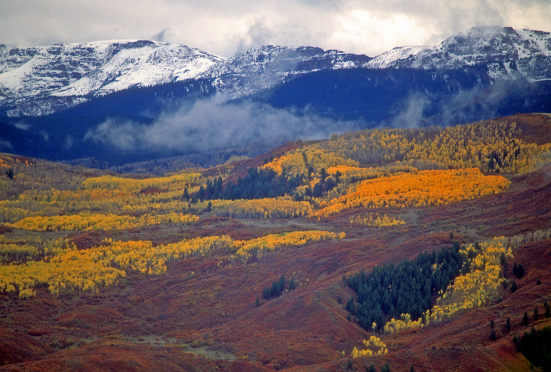 Fall colors and low clouds  mean winter is coming to the high country. First snows catch the Elk Mountains in Colorado