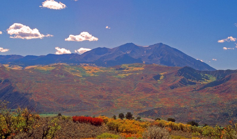 Fall colors enhance Mt Sopris on a late summer day.