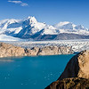 Turquoise water of Lago Guillermo below Upsala Glacier and Andes Mountains