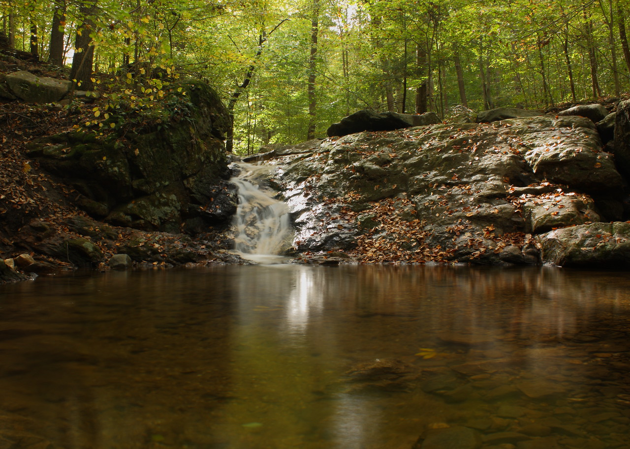 "This is a small cascade along the Cascade Falls trail in Patapsco Valley State Park.  My first attempt at blurring the water for a ""misty"" look using a neutral density filter."